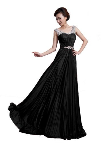 DLFASHION Scoop Neck Sweep Train Beaded Chiffon Prom Dress L-14 Black (Design Sweep Train)