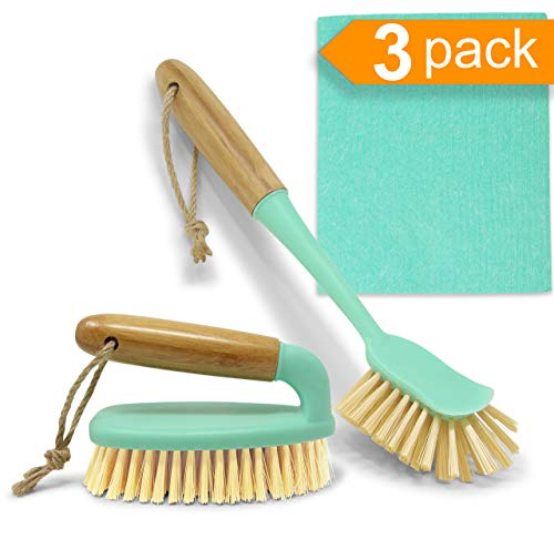 Scrub Brush Dish Scrubber Set - Long Bamboo Handle Scraper for Kitchen or Bathroom Cleaning - Bottle Brush & Swedish Dishcloth for Dish Washing Scrub Plates, Shower, Floor Tile, Tumblers, Instant Pot