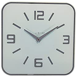 Unek Goods NeXtime Shoko Wall Clock, Glass, Battery Operated, Square, White