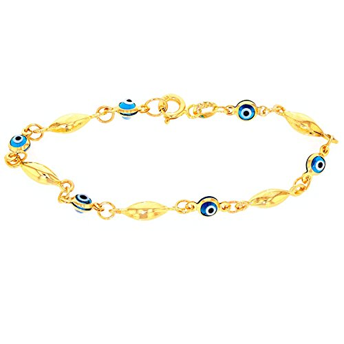Eye 14k Solid Gold Bracelet - Solid 14k Yellow Gold Blue Evil Eye Baby Bracelet 6