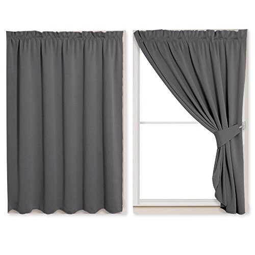 PONY DANCE Blinds Blackout Shades – Window Treatments Light Block Drapes No Rod & Track Need Size Adjustable Fastening Strips with Pleated Style for Rent Apartment Loft, 40″ W by 63″ L, Grey, 2 PCs