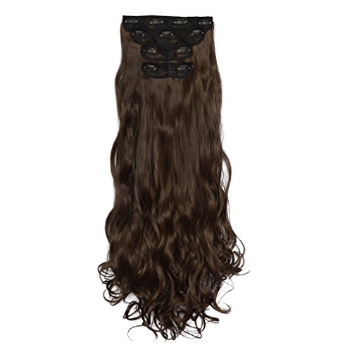 REECHO 16″ Curly Wavy Long 4 PCS Set Thick Clip in on Hair Extensions Medium Ash Brown