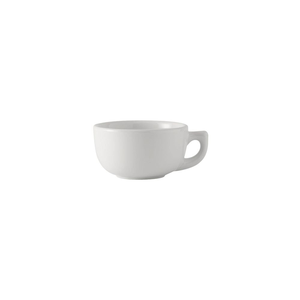 Tuxton BWF-1402 Vitrified China Cappuccino Cup, 14 oz, White (Pack of 24), Oven-Microwave-Pressure Cooker Safe; Freezer to Oven Safe