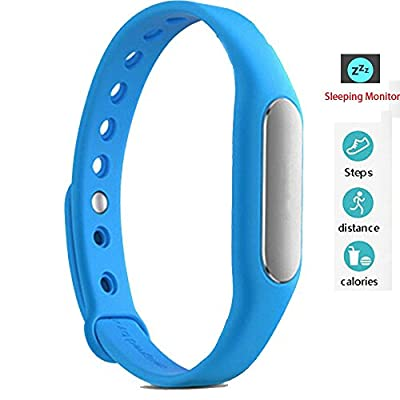 Twinbuys Smart Bracelet Bluetooth 4.0 Android iOS Fitness Tracker Phone Message Notice Pedometer Distance Calories Counter Sleep Monitor Health Sport Wristband Blue