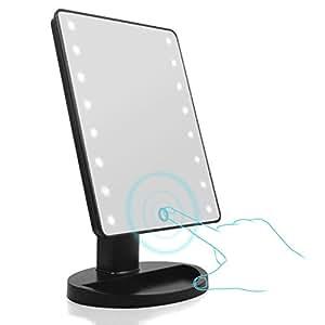Espejo de Maquillaje con Luz LED, Aodoor Portátil 16 LEDs Pantalla Táctil Maquillaje Espejo 180° de Rotación Funciona con Pilas (No incluidas) para Cosmético Afeitado y Viaje