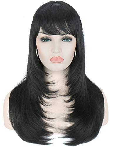 - Kalyss Yaki Synthetic Women's Wig With Hair Bangs Centre Parting Long Straight Heat Resistant Synthetic Hair wig for Women (black)