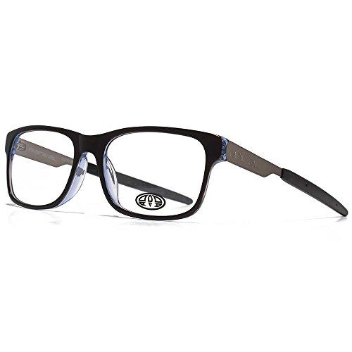 Animal Lunettes acétate demha Rectangle en noir sur bleu ANIS008-BLK clear