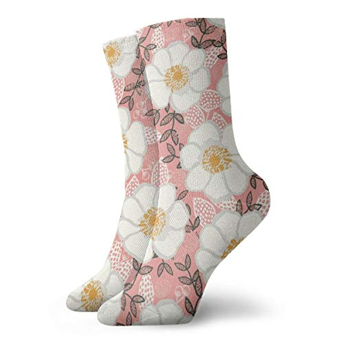 Fun Socks -Poppies Pink And White Cute Painted Flowers Florals Paint_507 Painting Art Printed Funny Novelty Animal Casual Cotton Crew Socks - Poppy Syracuse
