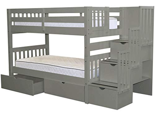 Bedz King Stairway Bunk Beds Twin over Twin with 3, used for sale  Delivered anywhere in USA
