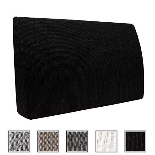 Formalind Respaldo para cama y sofa 70 X 45 X 15 CM//Cojines traseros para ver television y leer en diseno fino hecho de tela fina de tapiceria (negro)