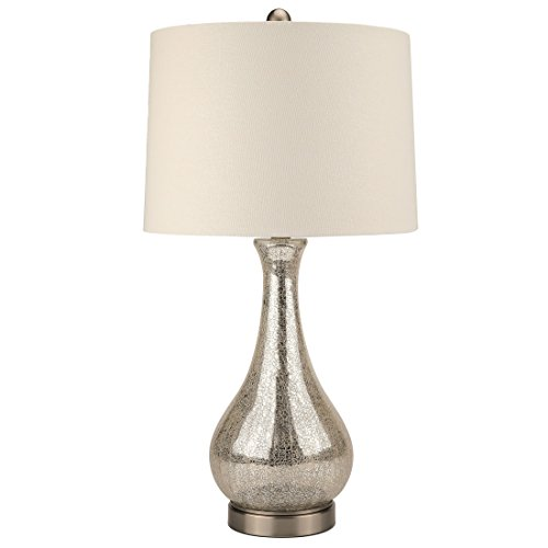 Eurus Home Silver Mercury Glass Table Lamp,Crackled Glass Gourd Table Lamp with Linen Fabric Shade,Brushed Nickel Metal Pedestal, E26 Bulb Base Harp ()