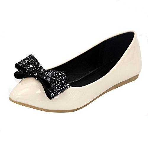 AalarDom Damen Spitz Zehe Ohne Absatz Flache Schuhe mit Schleife Aprikosen Farbe
