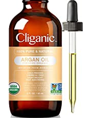 Cliganic USDA Organic Argan Oil, 100% Pure   Moroccan Argan Oil for Hair, Face & Skin   Natural Cold Pressed Carrier Oil - Certified Organic   Cliganic 90 Days Warranty