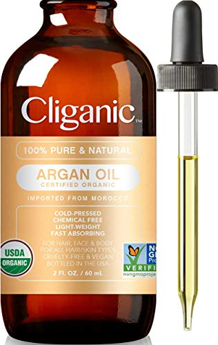 Cliganic USDA Organic Argan Oil, 100% Pure | Moroccan Argan Oil for Hair, Face & Skin | Natural Cold Pressed Carrier Oil - Certified Organic | Cliganic 90 Days Warranty