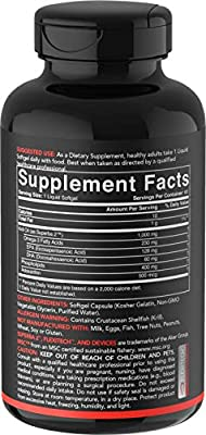 Antarctic Krill Oil (Double Strength) with Omega-3s EPA, DHA and Astaxanthin (60 Softgels - 1000mg)