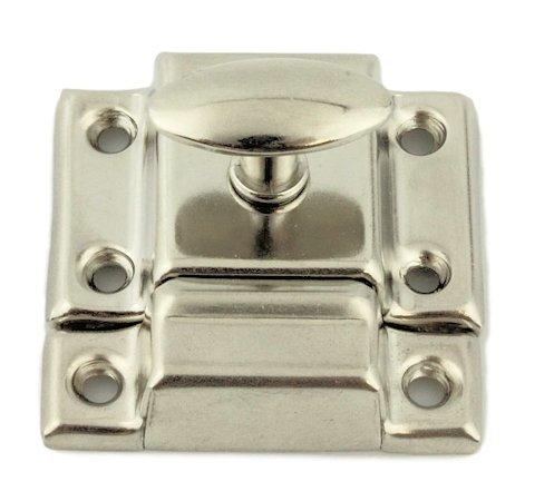 Trunk Restoration Hardware (BS-2 NICKEL PLATED CABINET DOOR LATCH WITH CATCH ANTIQUE CABINET, CUPBOARD & OTHER VINTAGE FURNITURE REPRODUCTION RESTORATION HARDWARE + FREE BONUS (SKELETON KEY BADGE))