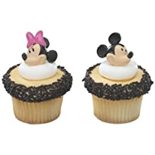 CakeDrake Minnie and Mickey Mouse Decorative Cake Cupcake Ring Toppers - 24 pcs