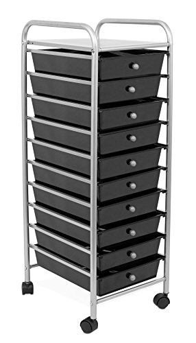 Internet's Best Rolling Cart Organizer | 10 Black Drawers | Classroom, Home or Office Storage Organization Bins by Internet's Best
