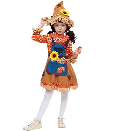 Sunflower Sweet Scarecrow Costume for Girls Kids Farmer (Small (5-7 yr)) ()