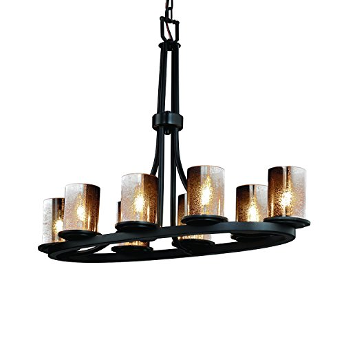 (Justice Design Group Lighting FSN-8751-10-MROR-MBLK Dakota Eight Light Oval Ring Chandelier, 27