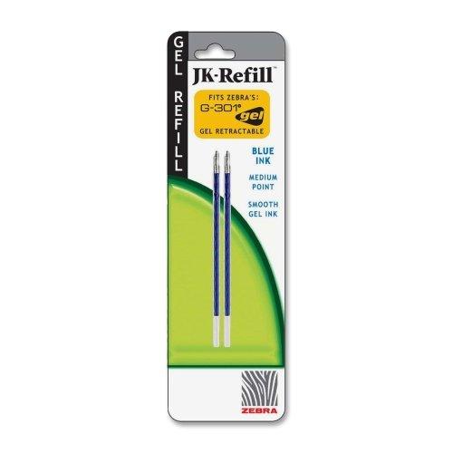 Wholesale CASE of 25 - Zebra G-301 JK Gel Stainless Steel Pen Refill-Gel Refill, 0.7mm, 2/PK, Blue