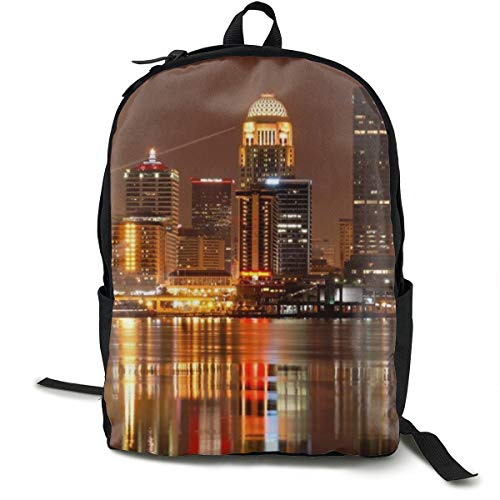 Louisville Skyline College Backpack School Bag Travel Daypack Laptop Bag, Elementary/Middle/High School Student Rucksack Cute Bookbag