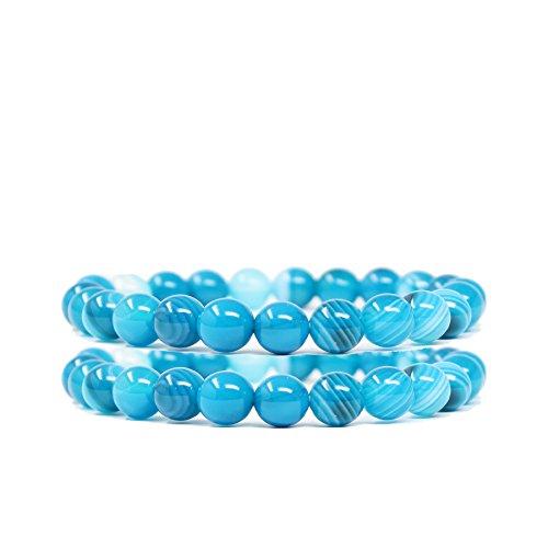 FELICIS JEWELRY Natural Semi Precious Gem Stone Beaded Bracelet, Chakra Stones Healing Crystal Bead Stretch Bracelets for Women Girls, Blue lace Aqua Beach Agate Bracelet, 8mm Round Beads, 6.5