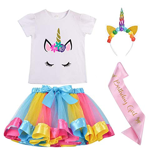 Girls Unicorn Outfit Dress,Layered Rainbow Tutu Skirt,Unicorn T-Shirt,Unicorn Horn Headband and Satin Sash (2-7 Years)