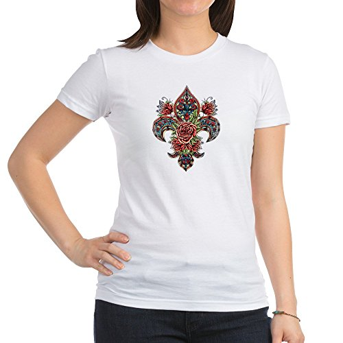 Royal Lion Jr. Jersey T-Shirt Floral Fleur De Lis - White, Small