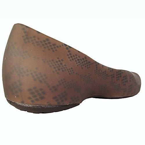 Crocs Mujeres Thermalucent Snake Print Flat Bronce / Espresso
