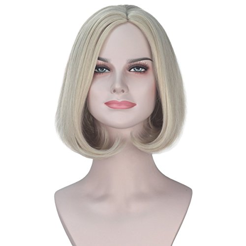 Miss U Hair Synthetic Short Wavy Ash Blonde Hair Bob Style Movie Costume Wig Halloween]()