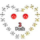 2 Set Jacks Game Toys Kit, Include 2 Pieces Red Rubber Balls and 20 Pieces Metal Jacks for Kids and Adults