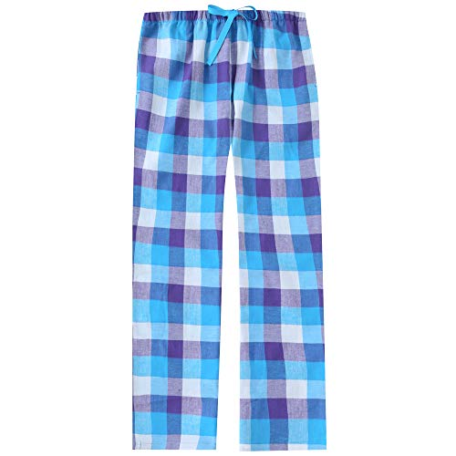 (Noble Mount Women's Cotton Lightweight Flannel Lounge Pants - Plaid Blue-White-Purple - M)