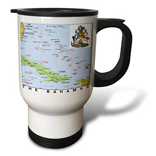 3dRose lens Art by Florene - Topo Maps With Flags - Image of Map of The Bahamas With Flag And Seas - 14oz Stainless Steel Travel Mug (tm_299567_1)