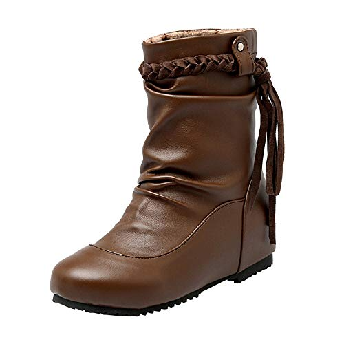 (NEARTIME Middle Heel Boots,Winter Tassel Soft Non-Skid Middle Slope Heel Booties Braided Belt Women's Shoes Brown)