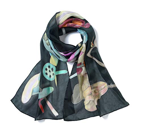 Invisible World Women's 100% Mulberry Silk Scarf Hand Painted Black Lotus - Hand Silk Painted Wrap