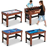 """MD Sports New Multi-Game Play Foosball, Slide Hockey, Table Tennis or Billiards Combo Table (54"""", 4 in 1)"""