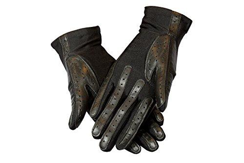 Genuine Leather & Lycra / Spandex Super Stretch Fit Driving Gloves By Corder London (Black / Black) - Lycra Spandex Gloves
