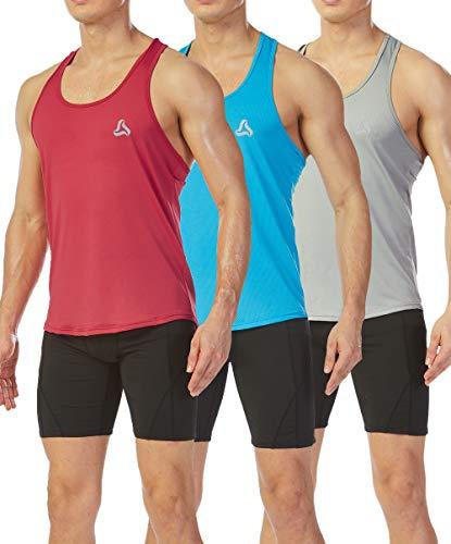 (SILKWORLD Men's 3 Pack Mesh Y-Back Muscle Sleeveless Workout Tank Top,Light Blue, Light Grey, Red, X-Large)