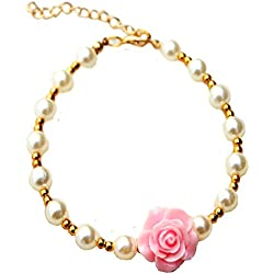 2015 New Handmade Cat Dog Necklace Jewelry with Pearls Gorgeous Rose Flower for Pets Cats Small Dogs Female Puppy Chihuahua Yorkie Girl Costume Outfits, Adjustable (Soft Pink, S(necksize 8inches))