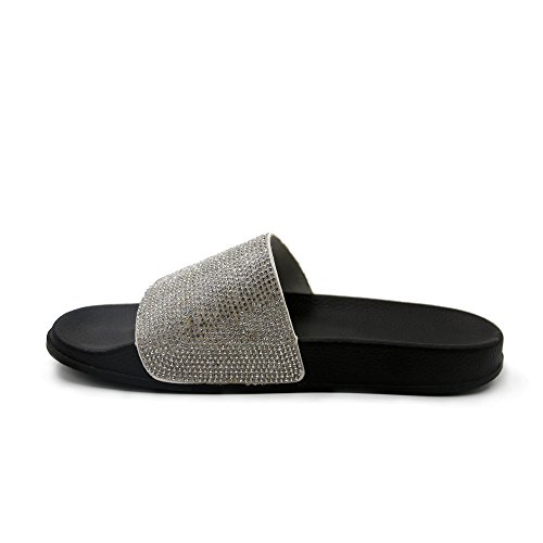 JOURNEI Women's Bling Sparkly Crystal Slides Sandals by JOURNEI (Image #3)