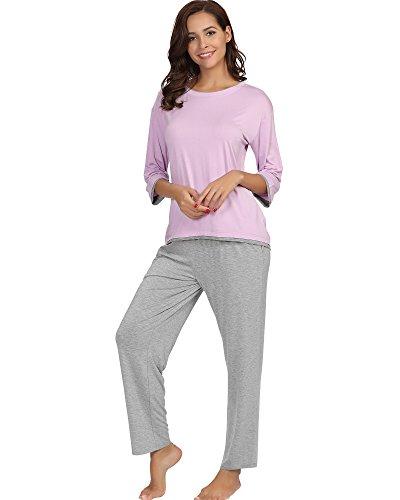 GYS Women's Crew Neck Sleepwear 3/4 Sleeve Pajama Pants Set(M, Violet)
