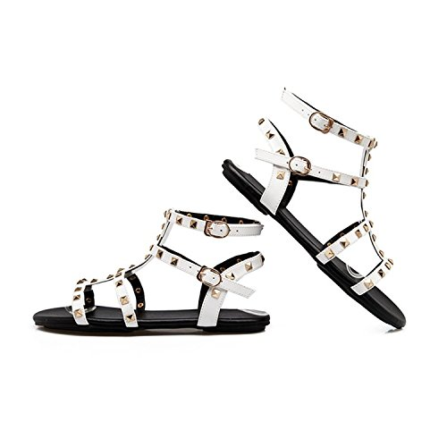 Rivets White Strap Sandals Shoes Flip Sandals Size34 Flats Shoes Zcaosma Women Flops Slides Cross 43 Summer SvHAOqOcZ