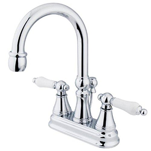 Faucet Madison Chrome Polished (Madison Centerset Bathroom Faucet with Double Porcelain Lever Handles Finish: Polished Chrome)