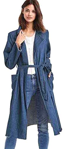 Gap Womens Blue Denim Long Belted Coat Large