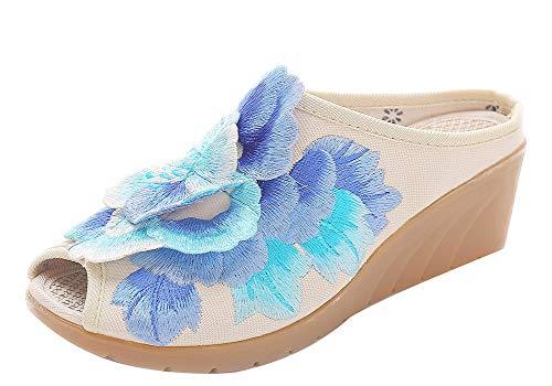 Vintage Talon Studio Mary Broderie Beige Femme Fleur Slipper Sk Wedge Jane A Printemps Bout Sandale Chaussure Pour Ete Chinoise Ouvert qzdEHHtwfx