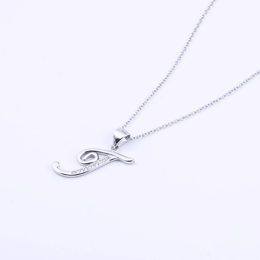 GLEENECKLAC 925 Sterling Silver Necklace Crystal Alphabet Capital T Letter Pendants Necklaces For Women