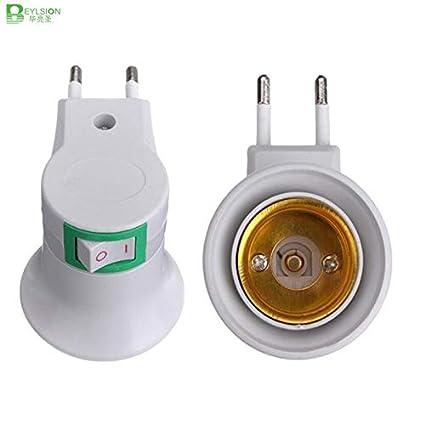 1X E27 to EU Plug Adapter Converter LED Light Bulb Lamp base Socket On button
