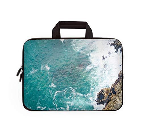 Double Zipper Laptop Bag,Deep Blue Indian Ocean,13 inch Canvas Waterproof Laptop Shoulder Bag Compatible with 11.12.6