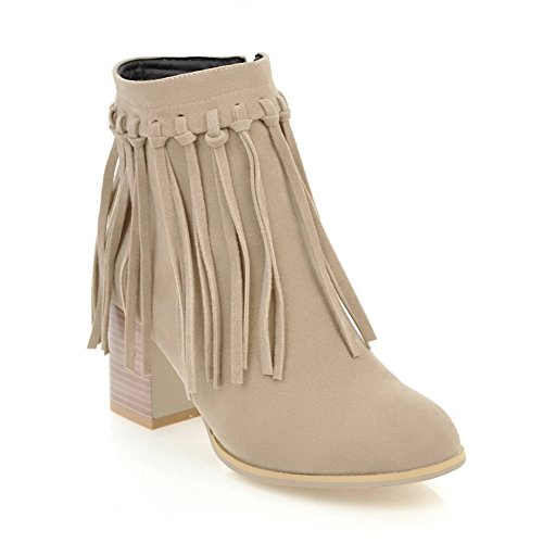 Urethane ABL10651 Fringed Beige BalaMasa High Heels Ankle Womens Chunky Boots Of8qcYg5